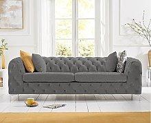 Ariel Grey Linen 3 Seater Sofa