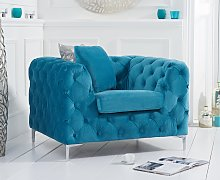 Ariel Teal Plush Armchair