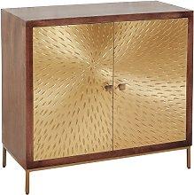Arielle Storage Cabinet In Dark Wood With 2 Gold