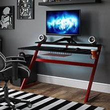 Aries Carbon Fibre Effect Gaming Desk In Black And
