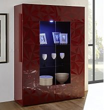 Arlon Display Cabinet In Red High Gloss With 2