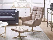 Armchair and Footstool Beige Velvet Upholstery