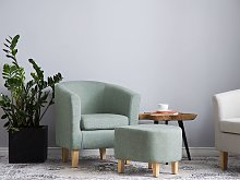 Armchair and Footstool Set Green Fabric Upholstery