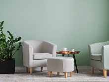 Armchair and Footstool Set Grey Fabric Upholstery