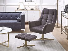 Armchair and Footstool Taupe Velvet Upholstery