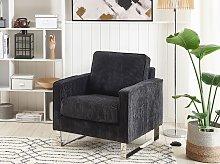 Armchair Black Corduroy Sled Silver Legs Modern