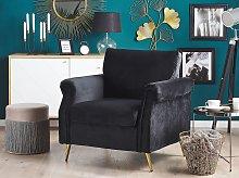 Armchair Black Velvet Fabric Upholstery Gold Metal