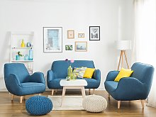 Armchair Blue Fabric Upholstery Single Seat Retro