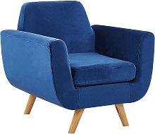 Armchair Blue Retro Velvet Upholstery Seat Cushion