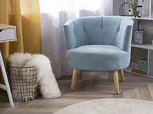 Armchair Blue Upholstered Tub Chair Retro Style