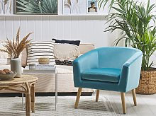 Armchair Blue Velvet Upholstery Club Chair with