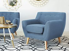 Armchair Chair Blue Tufted Back Light Wood Legs Thickly Padded Living Room Nursery