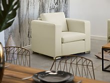 Armchair Club Chair Beige Split Leather Upholstery