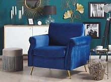 Armchair Cobalt Blue Velvet Fabric Upholstery Gold