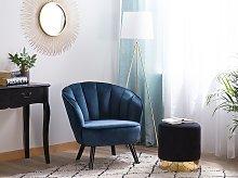 Armchair Dark Blue Velvet Fabric Upholstery Glam