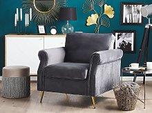 Armchair Dark Grey Velvet Fabric Upholstery Gold