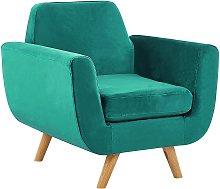 Armchair Green Retro Velvet Upholstery Seat