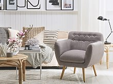 Armchair Grey Fabric Upholstery Buttoned Retro