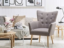 Armchair Grey Fabric Upholstery Buttoned Wooden