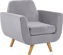 Armchair Grey Retro Velvet Upholstery Seat Cushion