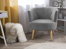 Armchair Grey Upholstered Tub Chair Retro Style