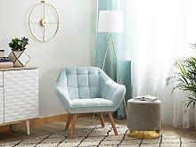 Armchair Light Blue Velvet Fabric Upholstery Glam