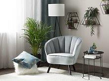 Armchair Light Grey Velvet Fabric Upholstery Glam