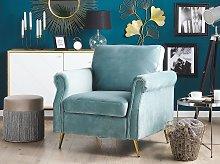 Armchair Mint Green Velvet Fabric Upholstery Gold