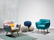 Armchair Multicolour Fabric Patchwork Upholstery