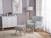 Armchair Multicolour Fabric Upholstery Footstool