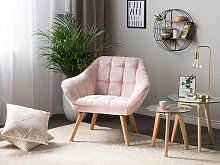 Armchair Pink Velvet Fabric Upholstery Glam Accent Chair with Wooden Legs