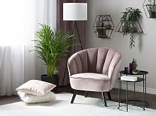 Armchair Pink Velvet Fabric Upholstery Glam Shell