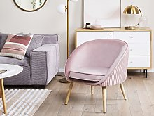 Armchair Pink Velvet Upholstery Recessed Arms