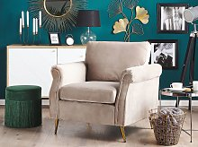 Armchair Taupe Velvet Fabric Upholstery Gold Metal