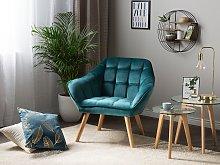 Armchair Teal Blue Velvet Fabric Upholstery Glam