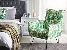 Armchair White with Green Fabric Leaf Pattern