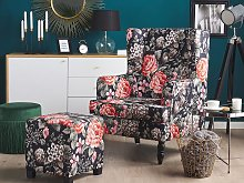 Armchair with Footstool Black Floral Pattern