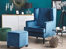 Armchair with Footstool Blue Velvet Fabric Wooden