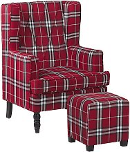 Armchair with Footstool Chequered Pattern Red and