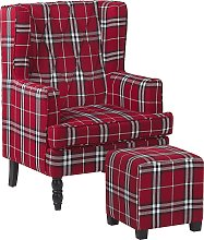 Armchair with Footstool Chequered Pattern Red and Black SANDSET