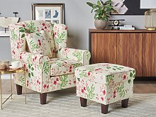 Armchair with Footstool Cream Floral Pattern