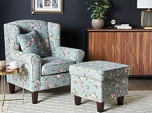 Armchair with Footstool Green Floral Pattern