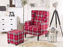 Armchair with Footstool Red and Black Chequered