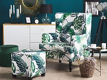 Armchair with Footstool White and Green Leaf