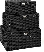 Arpan Set of 3 Resin Woven Storage Basket Box with