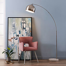 Arquer Arc Floor Lamp With Marble Base, Nickle