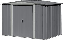 Arrow Apex Metal Garden Shed Dark Grey - 8 x 6ft