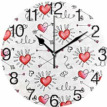Arrows with Hearts Round Wall Clock, Silent