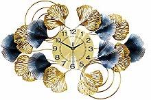 Art 3D Large Wall Clock, Creative Ginkgo Leaf Wall