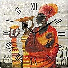 Art Africa Wall Clock, Silent Non Ticking Battery